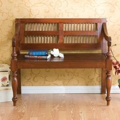 Mission Style Deacon Mahogany Accent Bench Dark Entryway Foyer Hallway Cottage