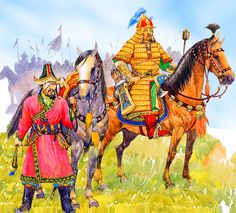 Sübodei and Jebei watch the approaching Russians, Battle of Kalka River