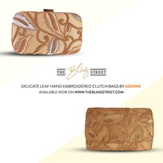 Hand embroidered clutch bags and more by Adorne http://www.theblingstreet.com/designer/Adorne #designerbags #weddingcollection #festivecollection — with Adorne.