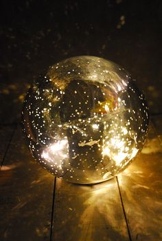 LED Orb Light Mercury Glass Silver 7in