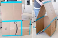 Don't toss those empty cardboard boxes! From DIY drawer dividers and craft projects, to kids playhouses, cardboard boxes have so many amazing new uses. Make drawer dividers. Cardboard Box Fort, Cardboard Box Crafts, Homemade Coasters, Diy Drawer Dividers, Carton Diy, Kids Room Organization, Diy Drawers, Old Boxes, Fun Activities For Kids