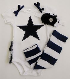 Dallas Cowboys Inspired Ruffle Butt Onesie, Baby Leg Warmers, and Headband - All NFL, College, and Local Teams Available. $36.99, via Etsy.