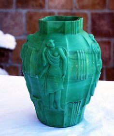 Schlevogt Malachite Glass Vase 1930s
