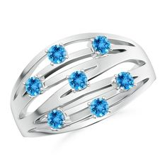 Make a statement with this Scattered Split Seven Swiss Blue Topaz Wedding Band Ring from Angara.com. Explore a fascinating array of designs