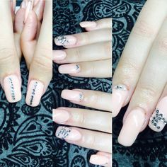 chanel builded gel nail , pink with silver rhinestones