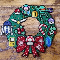 Video game Christmas wreath hama beads by the_zbox