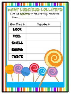 Crazy for First Grade: Many Luscious Lollipops~adjectives