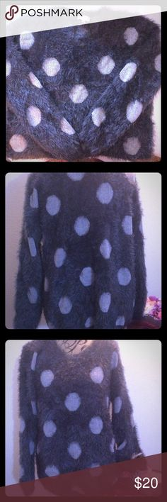 Seeing spots! Fuzzy wuzzy long sleeve sweater Playfully polka-dotted, fuzzy but not angora sweater wraps you in comfort   Medium weight works great for those summer nights in the mountains, at the beach/lake or around the campfire after riding sand rails at Jawbone! . Or hold it for fall/winter when you surprise yourself with a new sweater already in your closet.  WORN ONLY ONCE &In perfect-o condition. Please feel free to make a reasonable offer and/or bundle to save more! Joseph A Sweaters…