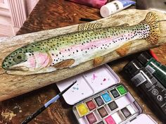 Painting on Driftwood - Trout and Fly Fishing Art - How to paint on driftwood.