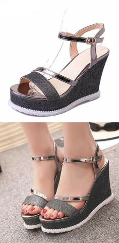 dc30cccd9da33b Have a good time in this stunning glittering pair Wedge Shoes