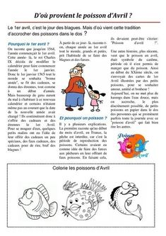 "On découvre ""poisson d'avril"" French Teacher, Teaching French, How To Speak French, Learn French, French For Beginners, French Baby, French Expressions, French Phrases, Cycle 2"