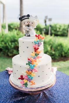 wedding cakes disney Hidden Mickey wedding cake with multi-colored mickey balloon details and Disney Precious Moments cake topper Precious Moments Wedding, Disney Precious Moments, Before Wedding, Our Wedding, Dream Wedding, Wedding Ideas, 1920s Wedding, Wedding Quotes, Wedding Trends