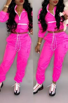 d890e42fdd90 Shyfull Trendy Patchwork Rose Red Two-piece Pants Set