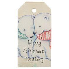#Merry Christmas Darling with polar bears Wooden Gift Tags - #Xmas #ChristmasEve Christmas Eve #Christmas #merry #xmas #family #kids #gifts #holidays #Santa