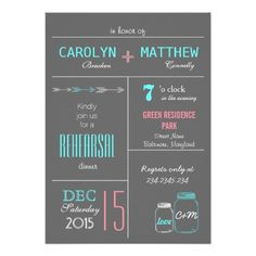 Chic Gray | Pink | Blue MasonJar Rehearsal Dinner Personalized Invitations
