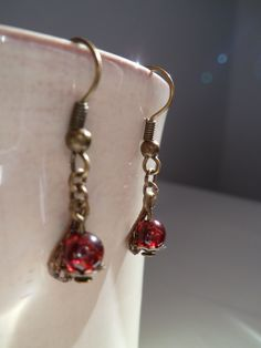Retro garnet earrings de elbosquevintage en Etsy