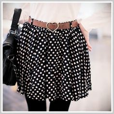 Clair Beauty  Elastic-Waist Dotted Skirt With Belt