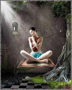 """""""Wir sollten erkennen, dass eine ungeheure Kraft in uns allen liegt, die wir aber nicht nutzen können, solange wir uns als Opfer fühlen."""" Inner Peace, Meditation, Spirituality, Yoga, Statue, Painting, Life, Women, Interior"""