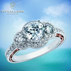 Just #SayYes to this vintage inspired 14K Rose and White Gold Diamond Engagement ring. This three stone #engagement ring features a round center diamond surrounded by a glittering diamond halo with a round #diamond set on either side and gorgeous #pink gold filigree in the band. Visit your local #GottlieandSons retailer and ask for style number 29454. http://www.gottlieb-sons.com/bridal/engagement-rings/29454