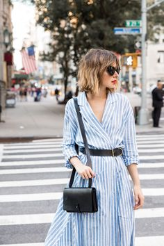 Striped shirtdress