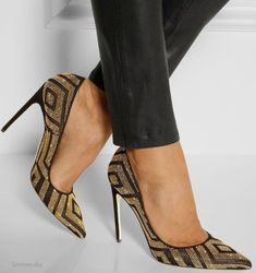 Brian Atwood  Studded suede and metallic leather pumps