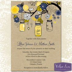 Mason Jar Wedding Invitation - Yellow and Navy Mason Jar Wedding Invite - Rustic Wedding Invitation - Printable Wedding - 6022 - PRINTABLE