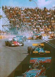 "frenchcurious: ""Grand Prix de Monaco 1970, Chris Amon, Jack Brabham, Jacky Ickx, Jean-Pierre Beltoise & Denny Hulme - Grand Prix - Fascination Formula 1. """