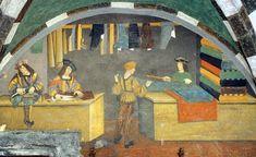 Interior of a Tailor Shop, ca. 1495, fresco, Castello di Issogne, Val d'Aosta.