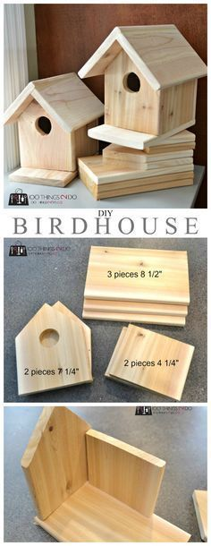 DIY birdhouses with our copious amounts of scrap wood. Used a few of the toolbox kits and it was so easy! #buildabirdhousekit