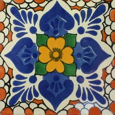 Traditional Mexican Tile - Lluvia, Melon - Mexican Tile Designs