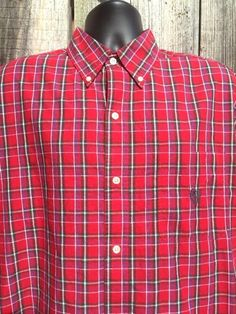 Mens Red Plaid Shirt Size XLT Tall Chaps Easy Care Button Down Crest Flaw New  #Chaps #ButtonFront