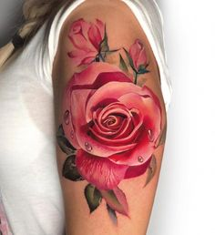 cool rose tattoo ideas © tattoo artist Antonina Troshina 💟🌹💟🌹💟🌹💟🌹💟 rose tattoo ideas Feed Your Ink Addiction With 50 Of The Most Beautiful Rose Tattoo Designs For Men And Women Rose Tattoos For Women, Pink Rose Tattoos, Tattoo Designs For Women, Flower Tattoos, Colorful Flower Tattoo, Watercolor Rose Tattoos, Tattoo Women, Body Art Tattoos, New Tattoos
