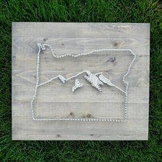 Oregon State Outline with Mountain Range String Art by TheWoollyBugger