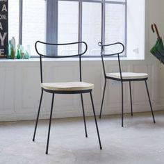 Chaise en métal et pin Lina