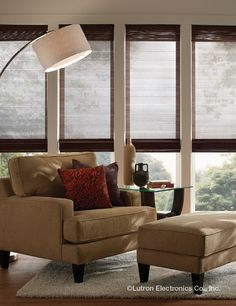 Lutron offers the best in motorized shades! call budget blinds of the Hampton today to achieve the look you've been wanting! Home, Luxe Interiors, Shades, Woven Wood, Lutron, Smart Home, Blinds, Interior Design, Lutron Blinds
