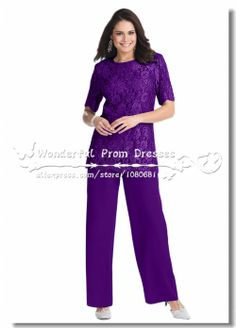 purple Two Piece Elegant Lace And Chiffon mother of the bride pant suits US $149.00