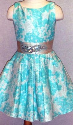 Zoe Ltd. Tween Girls Breakfast at Tiffany's Turquoise and White Party Dress