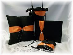 black and orange wedding set
