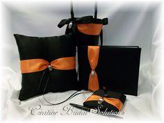 black and orange wedding set
