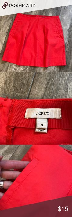 J. Crew coral skirt Size 4. Are pics for measurements. Excellent condition with no flaws. Has pockets. Great skirt for spring and summer! Bundle with any other item in my closet and save 20%! J. Crew Skirts Midi