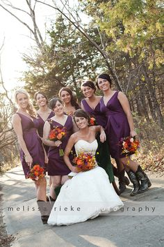bride and bridesmaids wedding photography - purple dresses, boots