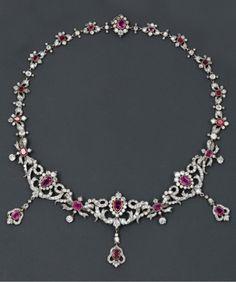 A Belle Epoque gold, silver, diamond and ruby necklace, 19th century. #BelleÉpoque #necklace