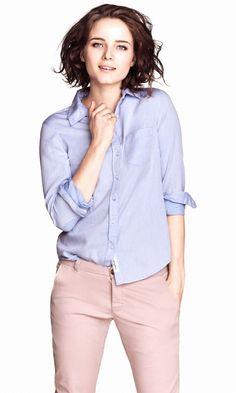 Blauwe blouse h&m