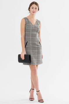 Suzy Shier Plaid Pinafore Dress with Zip Pockets