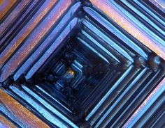 The Crystal Castle Minerals And Gemstones, Crystals Minerals, Stones And Crystals, Patterns In Nature, Textures Patterns, Bismuth Metal, Abstract Science, Organic Structure, Metal Earth