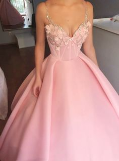 Sexy Pink Ball Gown Prom Dresses, Beaded Prom
