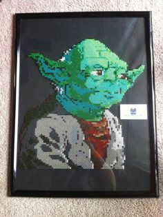 "LIMITED EDITION Yoda Star Wars Perler Bead Sprite Wall Art (approx 18"" tall x 16.5"" wide) by SDKD"