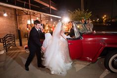Hayley Page wedding dress and bolero, vintage Jeepster and sparklers