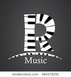 Abstract vector alphabet - R made from piano - alphabet set Music Notes, Names, Logos, Abstract, Piano, Tattoo Ideas, Scenery, Vector Art, Lyrics