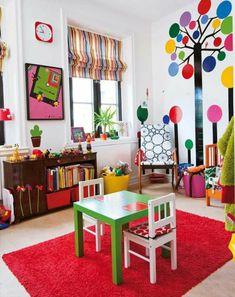 30 Ideen für Kinderzimmergestaltung - akzente gestalten ideen deko spielecke rot Ideen für Kinderzimmergestaltung